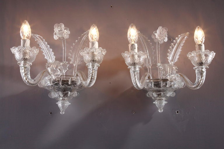 Late 19th Century Venitian Murano Glass Sconces For Sale 12