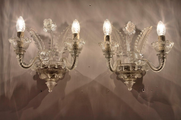 Late 19th Century Venitian Murano Glass Sconces For Sale 14