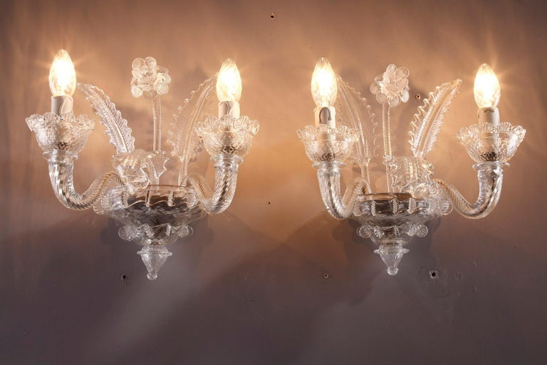 Late 19th Century Venitian Murano Glass Sconces For Sale 15