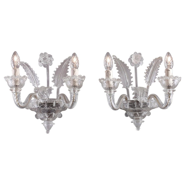 Late 19th Century Venitian Murano Glass Sconces For Sale