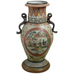 Late 19th Century Very Large French Painted Terracotta Chinoiserie Vase