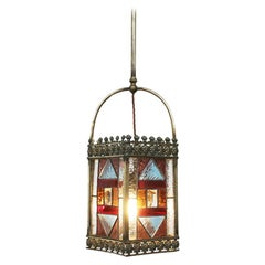 Late 19th Century Victorian Brass and Stained Glass Hall Lantern