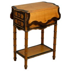 Late 19th Century Victorian Faux Bamboo Drop-Leaf End Table or Bedside Table