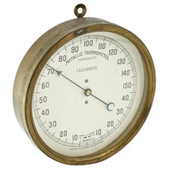Late 19th Century Victorian Glasshouse Brass Metallic Fahrenheit Thermometer