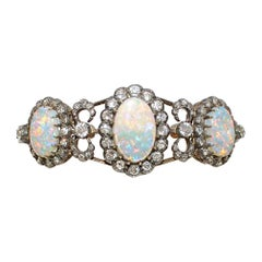 Late 19th Century Victorian Gold, Silver Bracelet with Diamonds and Opals