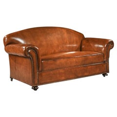 Late 19th Century Victorian Leather Upholstered Drop Arm Sofa