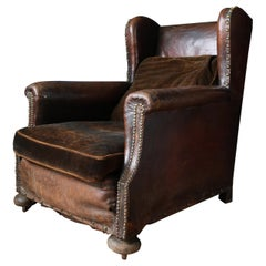 Late 19th Century Victorian Leather Wingback Club Chair