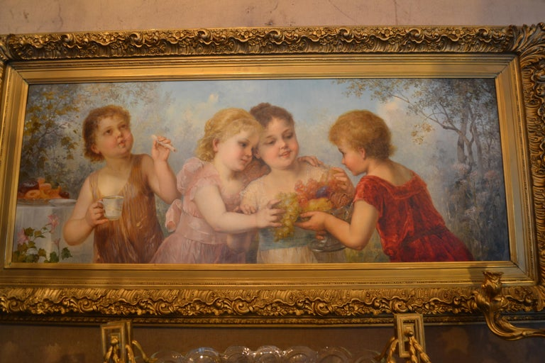 Late 19th century Viennese oil on canvas portrait. Romantic school.