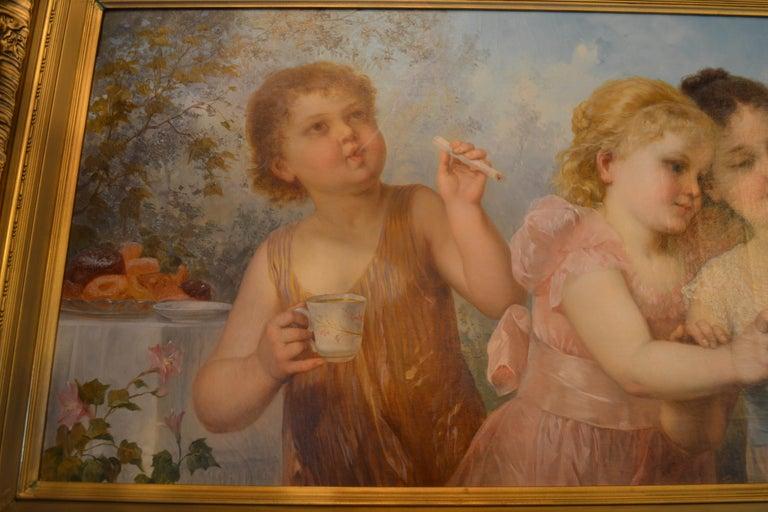 Romantic Late 19th Century Viennese Oil on Canvas Portrait For Sale