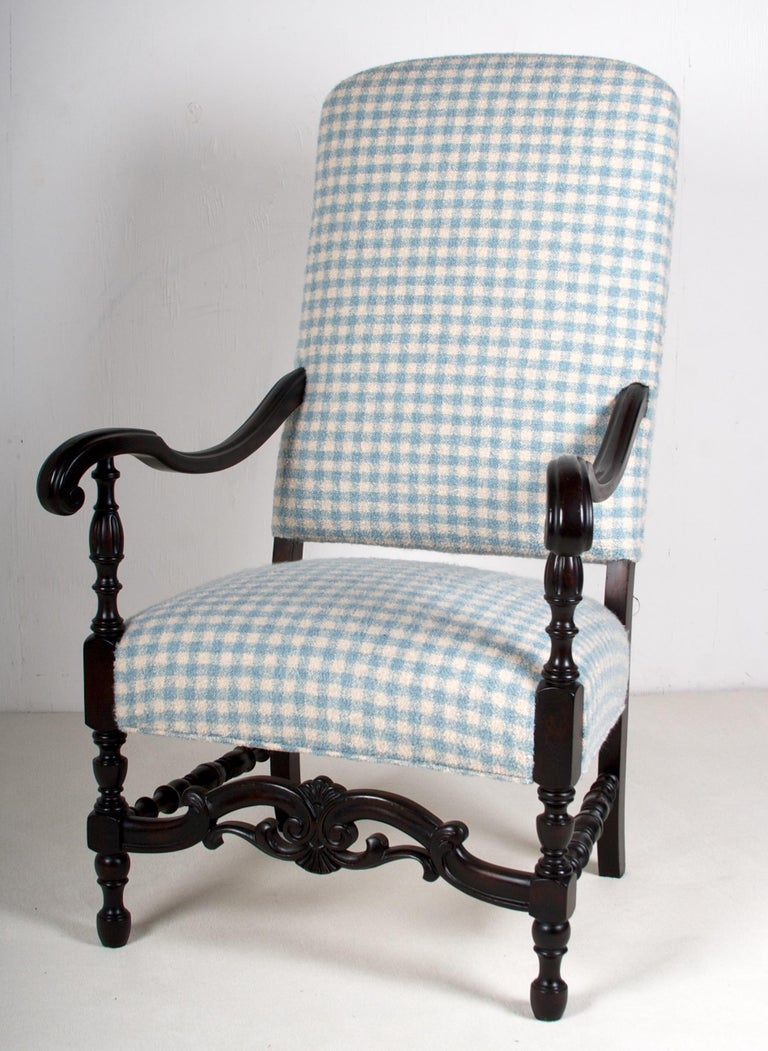 The entire chair was gently restored, the upholstery fabric is the finest Alpaca bouclé, in a soft cream and blue check. The Alpaca is from the Sandra Jorday Pima Alpaca collection. The fabric is the finest and softest Alpaca, and is also quite