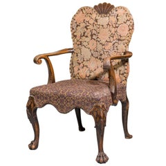 Late 19th Century Walnut Library Chair