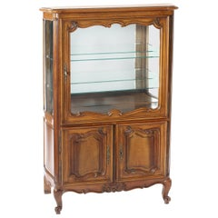 Late 19th Century Walnut or Mirrored Interior China Cabinet