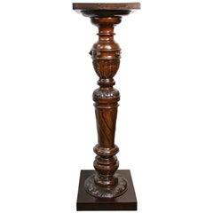 Late 19th Century Walnut Pedestal Hand Carved, Austria, circa 1870