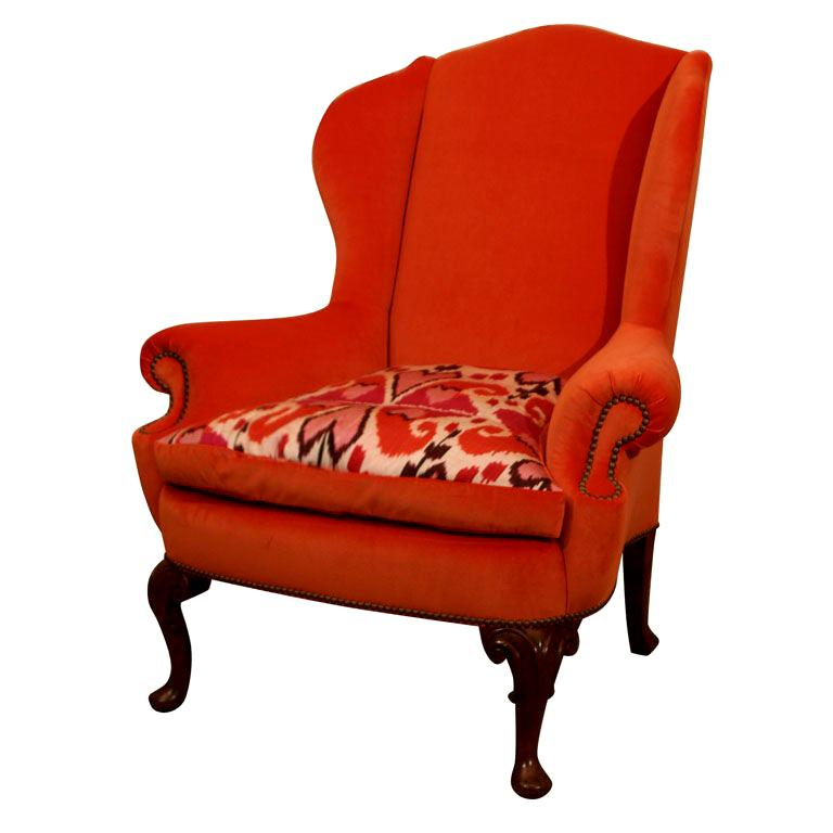 Late 19th Century Walnut Wing Armchair on Moulded Cabriole Legs For Sale