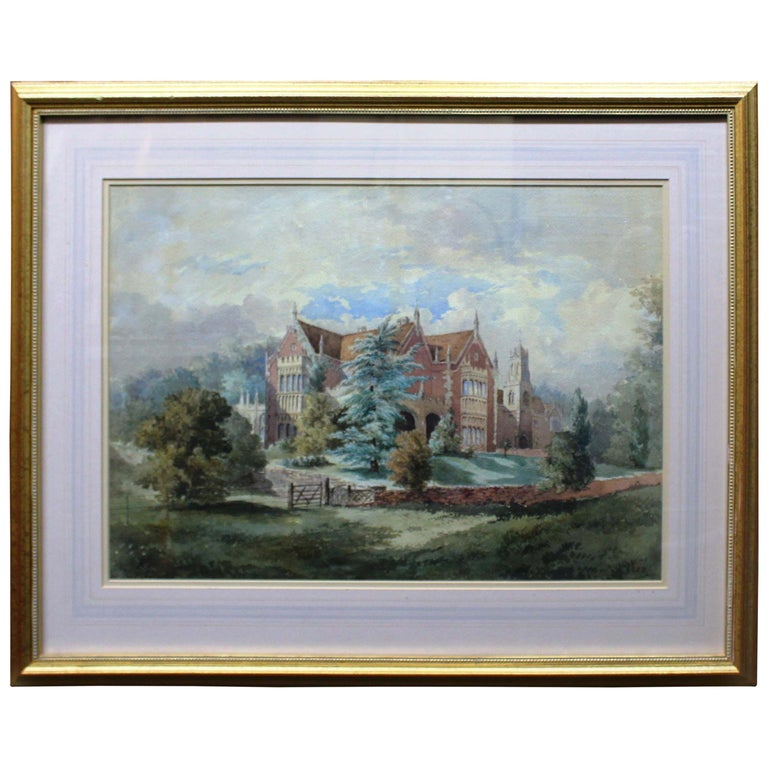 Late 19th Century Watercolor of an English Stately Home For Sale