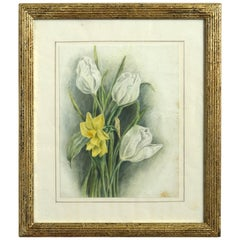Late 19th Century Watercolor Study of a Daffodil and Tulipos