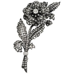Late 19th Century White Diamond Rose Brooch