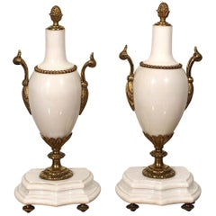 Late 19th Century White Marble Golden Bronze Details Decorative Objects Bookends