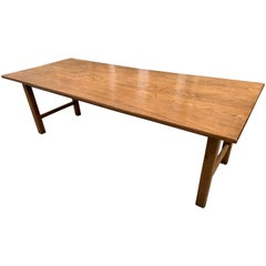 Late 19th Century Wide Elm Square Legged End Stretcher Farmhouse Table