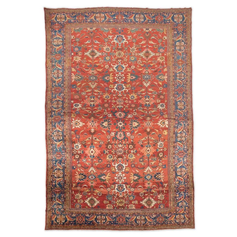 Late 19th Century with Red, Blue, Green & Yellows Colors Ziegler Sultanabad Rug