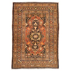 Late 19th Century with Vivid Colors over Wool, Unique Antique Tabriz Rug