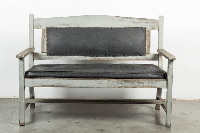 Hand-Painted Late 19th Century Wood and Leather Seat Railroad Station Bench For Sale