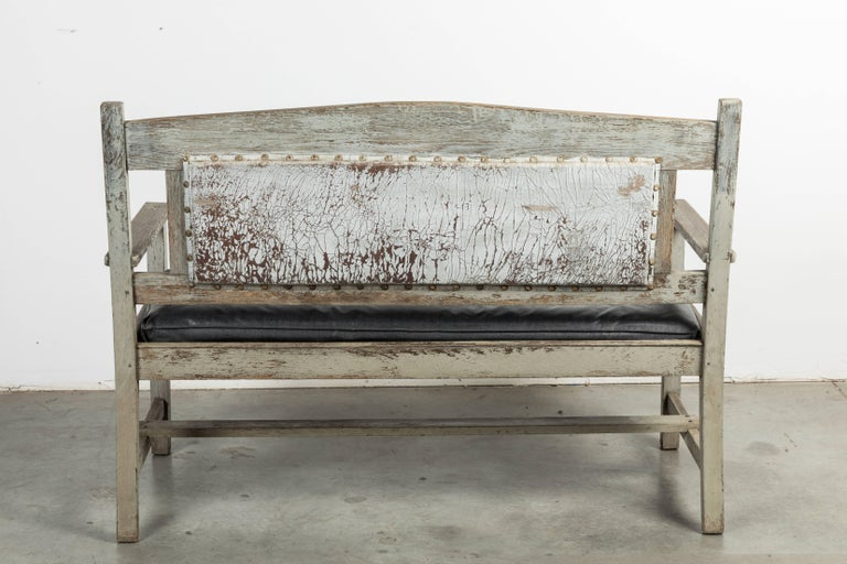 Late 19th Century Wood and Leather Seat Railroad Station Bench For Sale 3