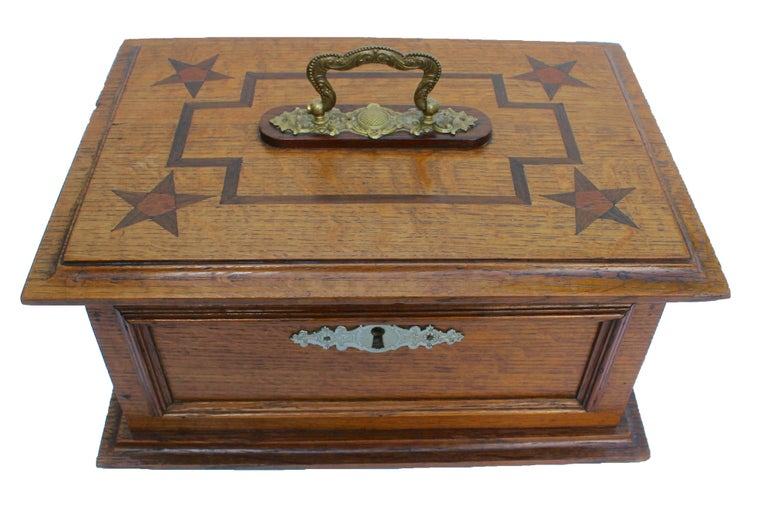 Marquetry Late 19th Century Wooden Oak Box with Inlay Works, Austria, circa 1890 For Sale