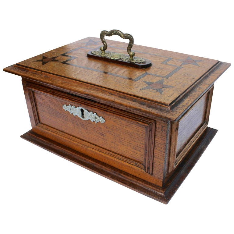 Late 19th Century Wooden Oak Box with Inlay Works, Austria, circa 1890 For Sale