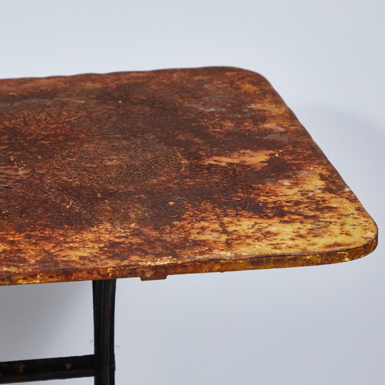 Late Victorian Late 19th Century Yellow Garden Table with Natural Patina on Iron Trestle Base For Sale