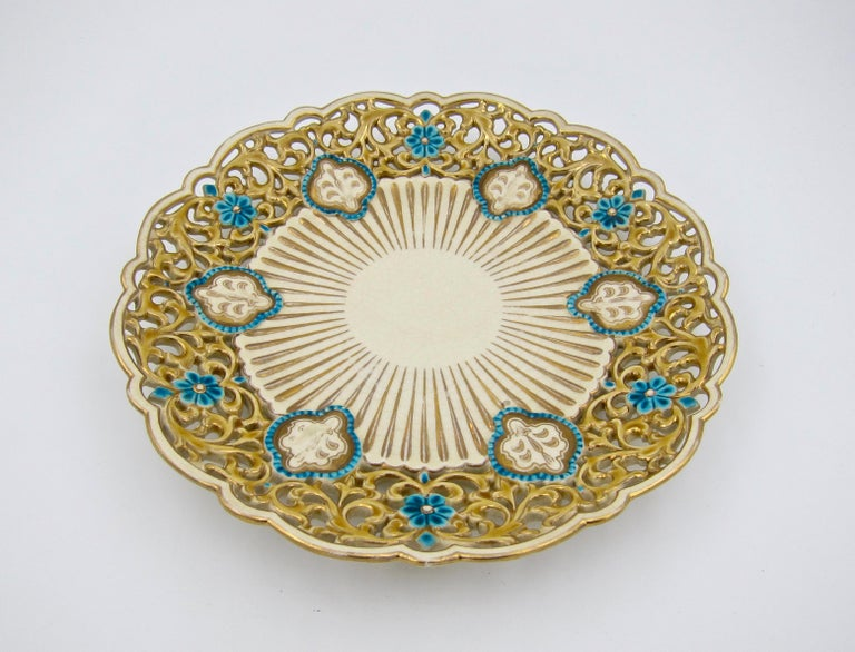 Victorian Late 19th Century Zsolnay Pecs Reticulated Polychrome Plate For Sale