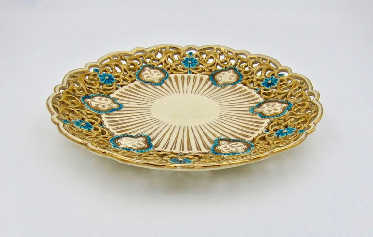 Hungarian Late 19th Century Zsolnay Pecs Reticulated Polychrome Plate For Sale