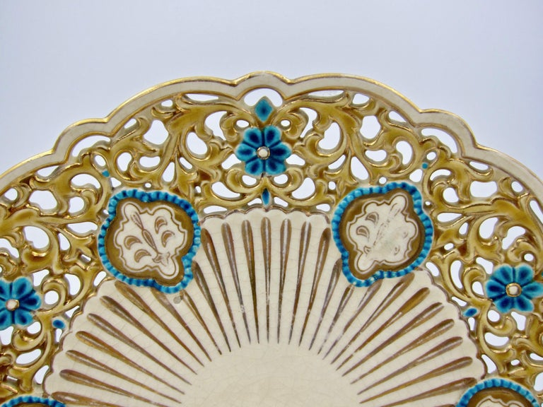 Glazed Late 19th Century Zsolnay Pecs Reticulated Polychrome Plate For Sale