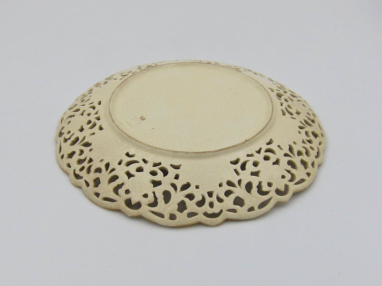 Ceramic Late 19th Century Zsolnay Pecs Reticulated Polychrome Plate For Sale
