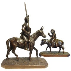 Late 19th Don Quixote and Sancho in Bronze Pair by Fratin