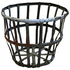 Late 19th-Early 20th Century Factory Iron Basket, circa 1880s-1920s