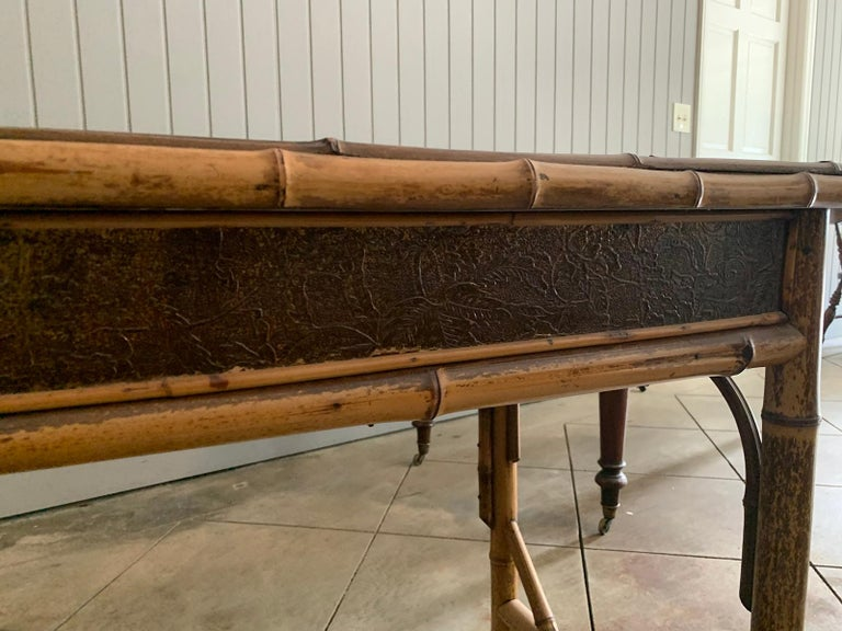Late 19th-Early 20th Century Bamboo Desk with Leather Top For Sale 7