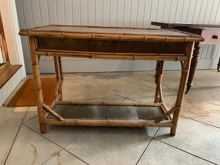 Late 19th-Early 20th Century Bamboo Desk with Leather Top For Sale 8