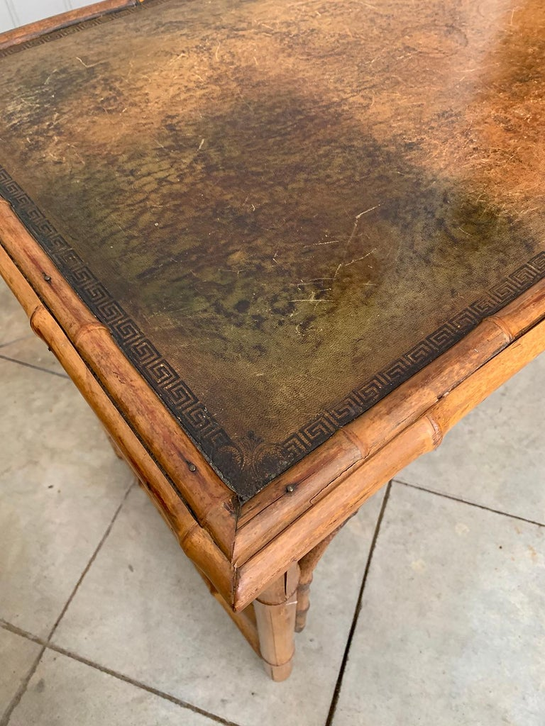 Late 19th-Early 20th Century Bamboo Desk with Leather Top For Sale 9