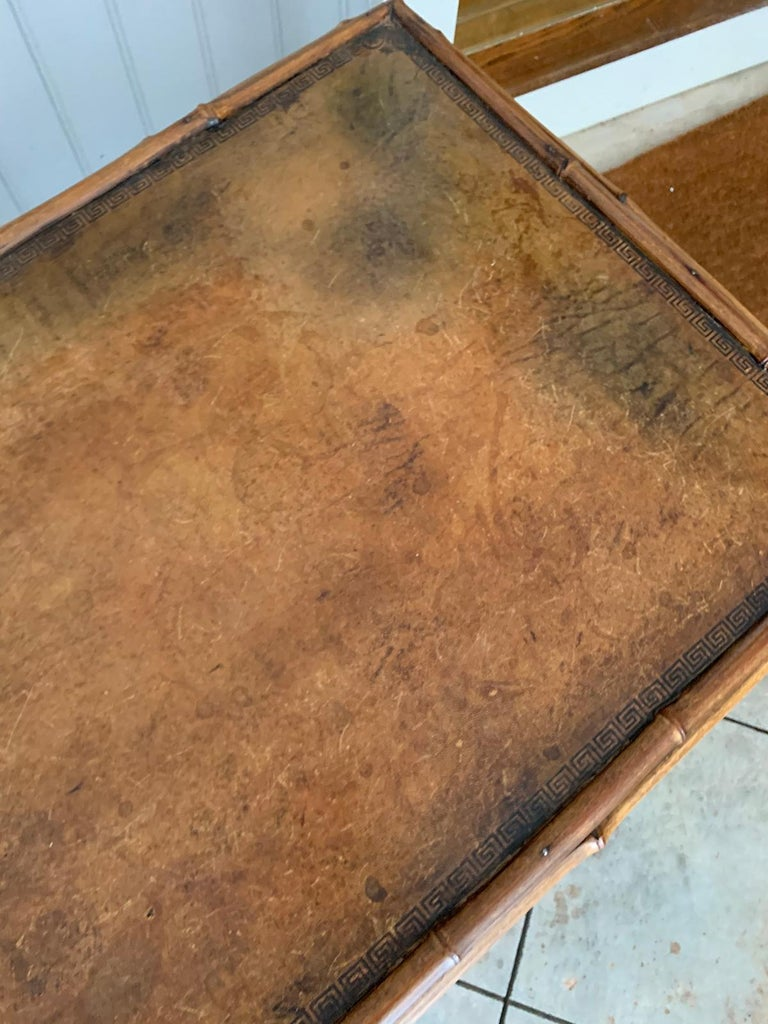 Late 19th-Early 20th Century Bamboo Desk with Leather Top For Sale 12