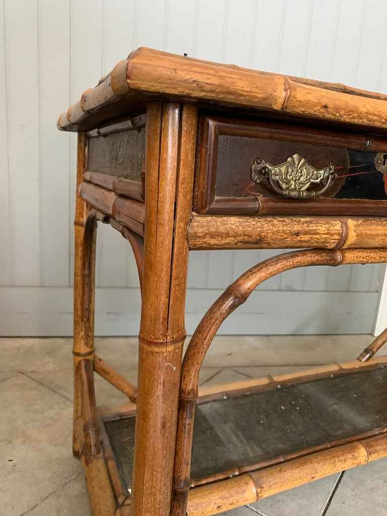 Late 19th-Early 20th Century Bamboo Desk with Leather Top For Sale 13