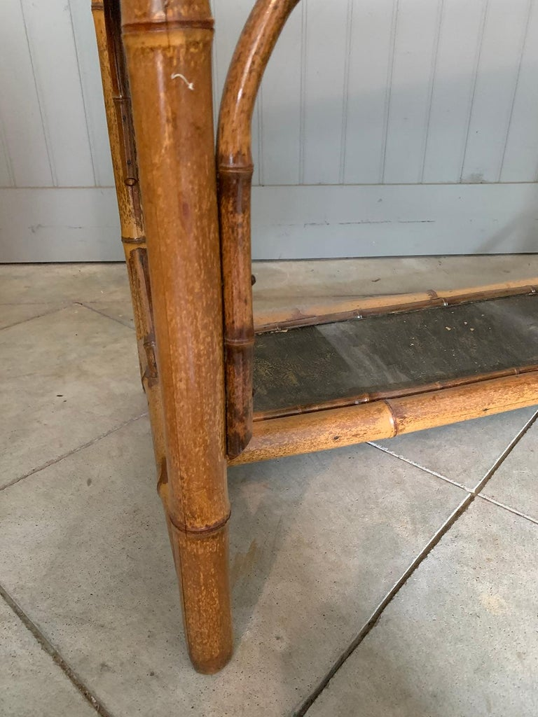 Late 19th-Early 20th Century Bamboo Desk with Leather Top For Sale 16