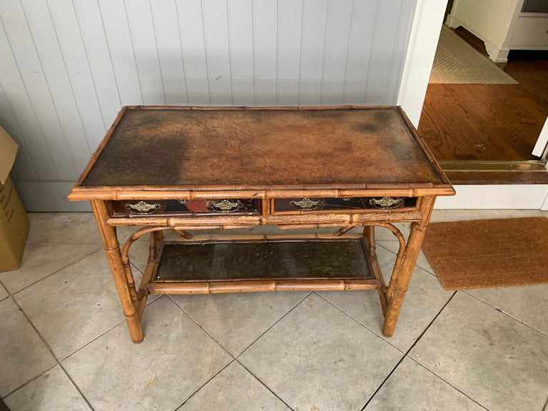 Late 19th-Early 20th Century Bamboo Desk with Leather Top In Good Condition For Sale In Atlanta, GA