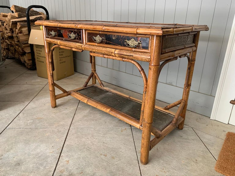 Late 19th-Early 20th Century Bamboo Desk with Leather Top For Sale 1