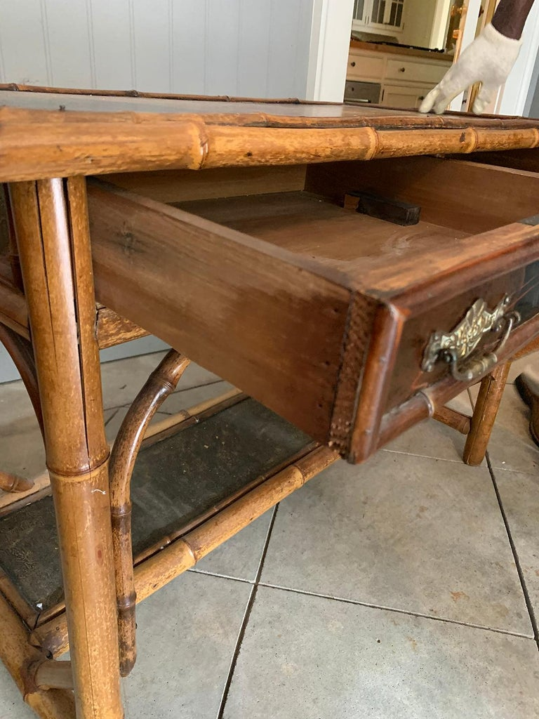 Late 19th-Early 20th Century Bamboo Desk with Leather Top For Sale 2