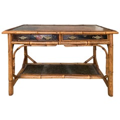 Late 19th-Early 20th Century Bamboo Desk with Leather Top