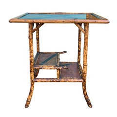 Late 19th-Early 20th Century Bamboo Side Table with Tiered Shelves