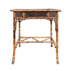 Late 19th-Early 20th Century Bamboo Table with Drawer, Leather Top, circa 1900