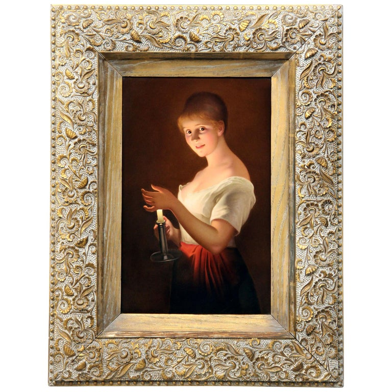 Late 19th-Early 20th Century Berlin K.P.M Porcelain Plaque Entitled 'Gute Nacht' For Sale