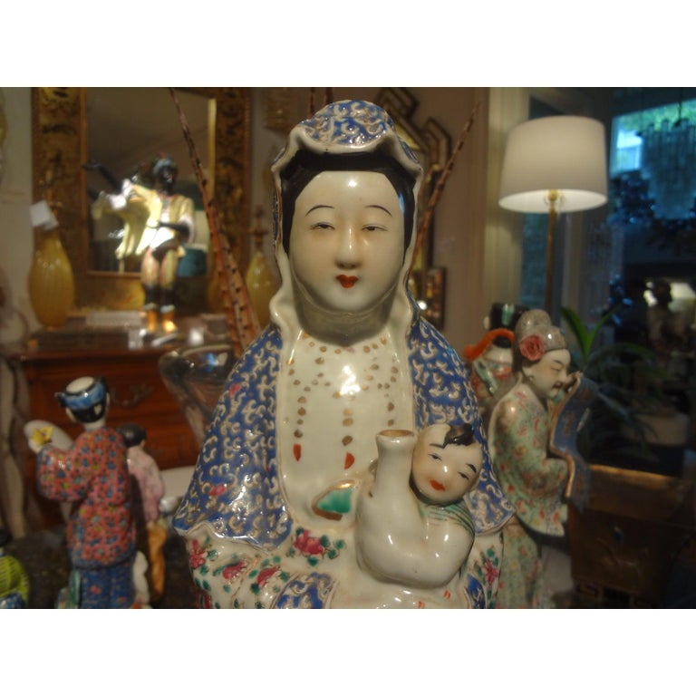 Chinese Export Late 19th-Early 20th Century Chinese Hand Decorated Porcelain Figure For Sale